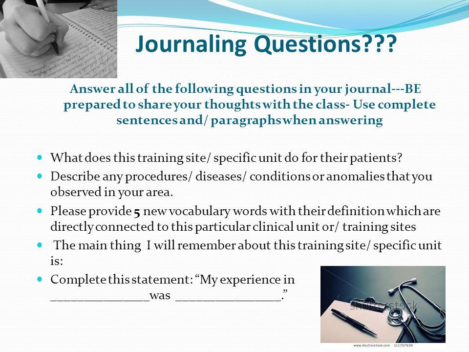 Journaling Questions??.