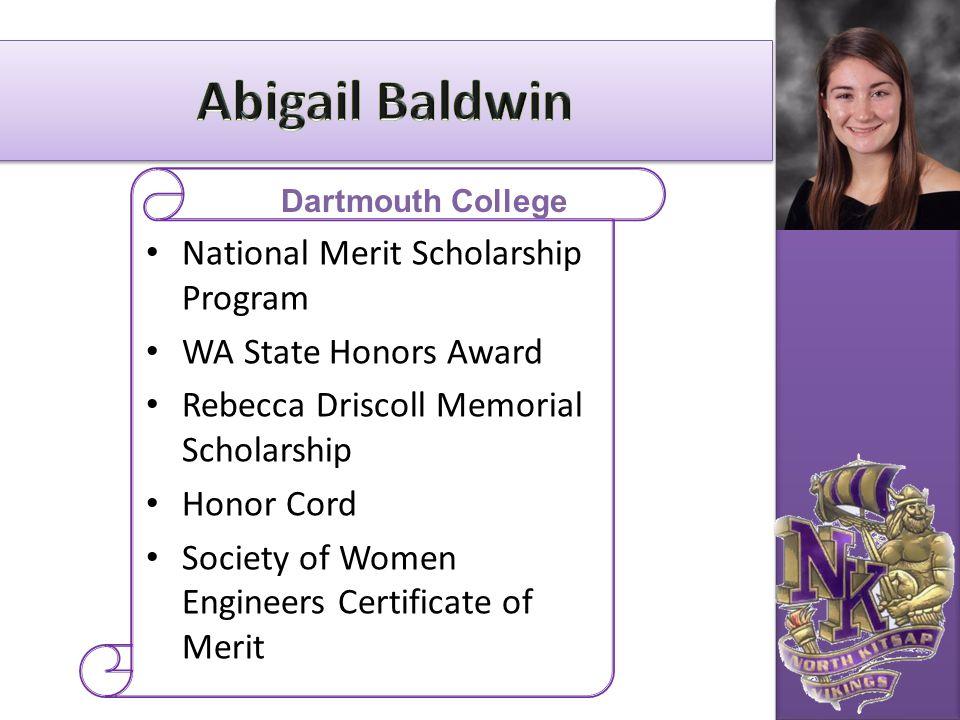 National Merit Scholarship Program WA State Honors Award Rebecca Driscoll Memorial Scholarship Honor Cord Society of Women Engineers Certificate of Me