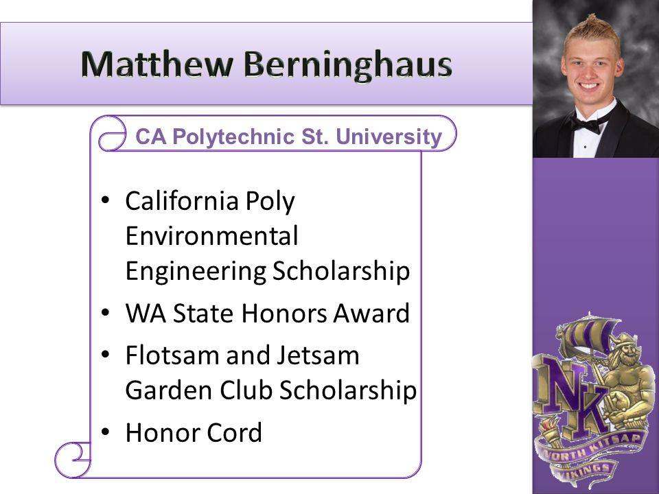 California Poly Environmental Engineering Scholarship WA State Honors Award Flotsam and Jetsam Garden Club Scholarship Honor Cord CA Polytechnic St. U