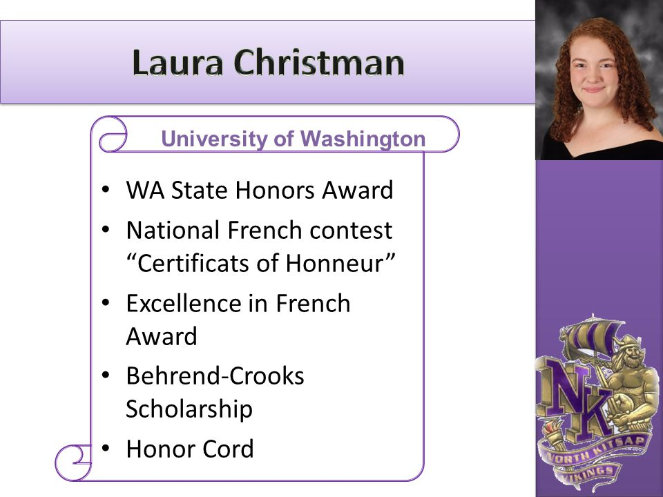 """WA State Honors Award National French contest """"Certificats of Honneur"""" Excellence in French Award Behrend-Crooks Scholarship Honor Cord University of"""