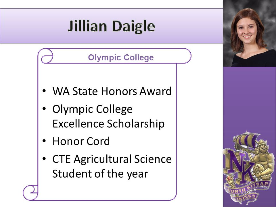 WA State Honors Award Olympic College Excellence Scholarship Honor Cord CTE Agricultural Science Student of the year Olympic College