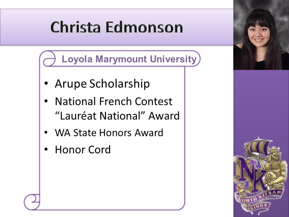 "Arupe Scholarship National French Contest ""Lauréat National"" Award WA State Honors Award Honor Cord Loyola Marymount University"