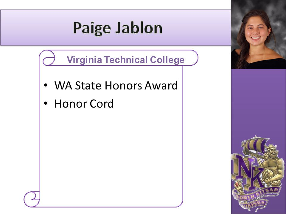 WA State Honors Award Honor Cord Virginia Technical College