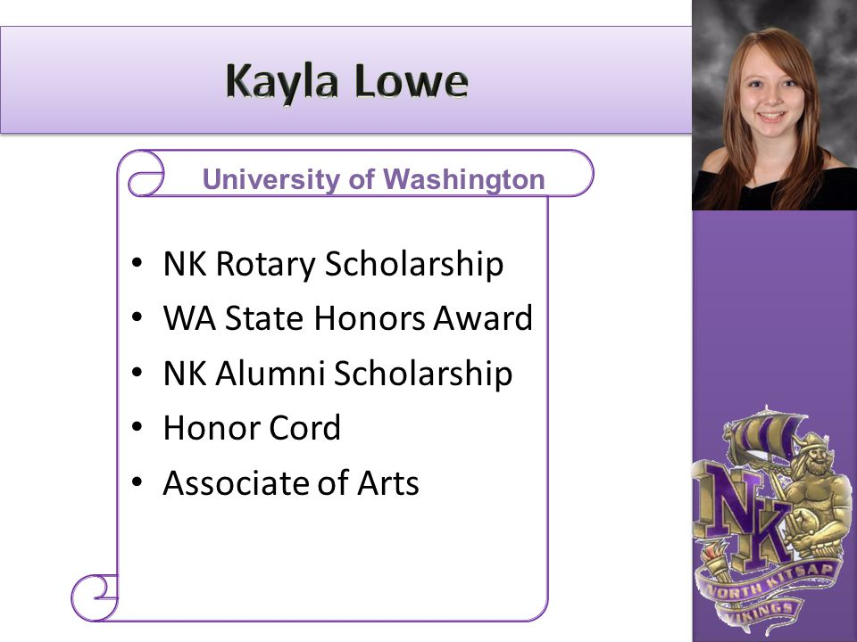 NK Rotary Scholarship WA State Honors Award NK Alumni Scholarship Honor Cord Associate of Arts University of Washington