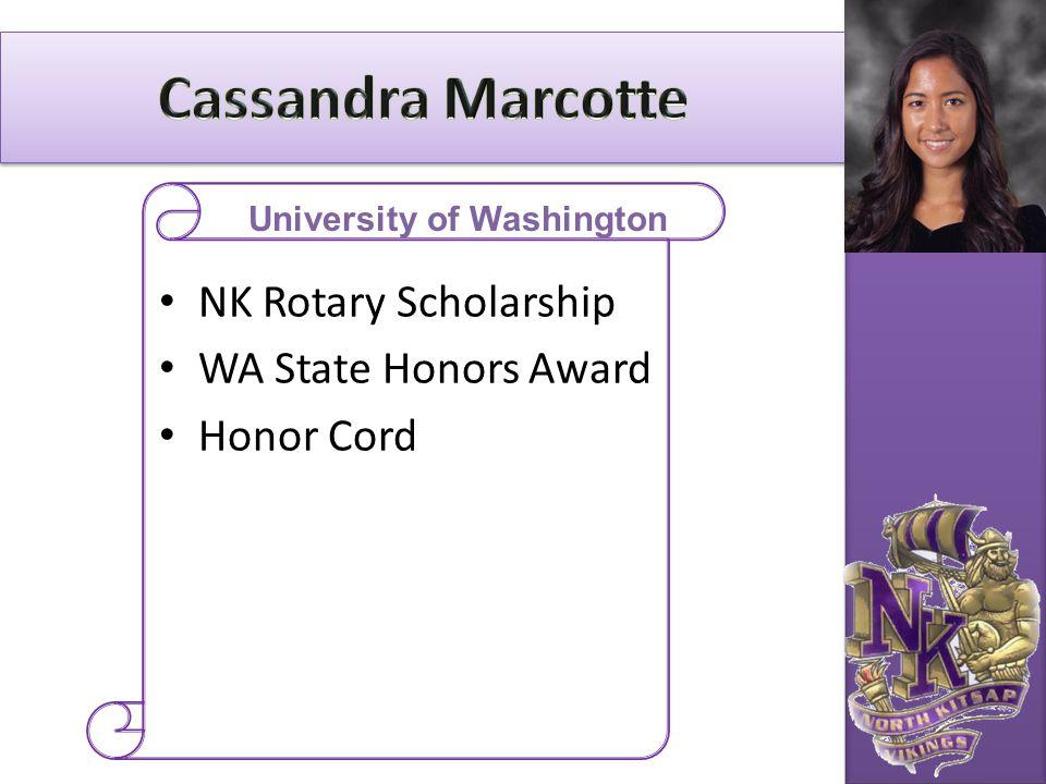 NK Rotary Scholarship WA State Honors Award Honor Cord University of Washington