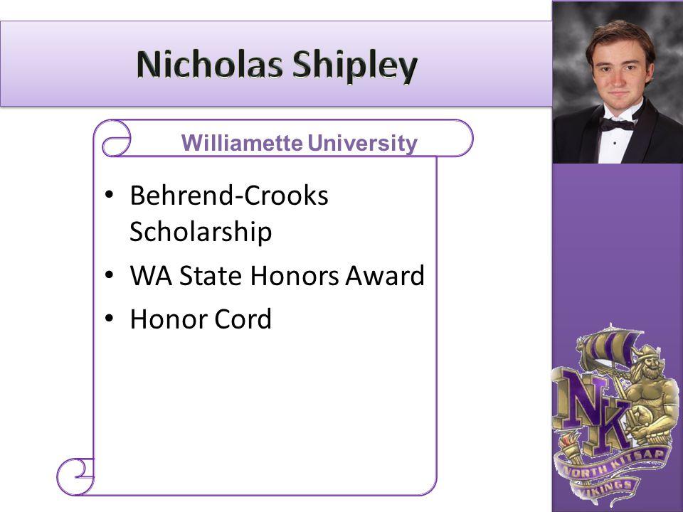 Behrend-Crooks Scholarship WA State Honors Award Honor Cord Williamette University