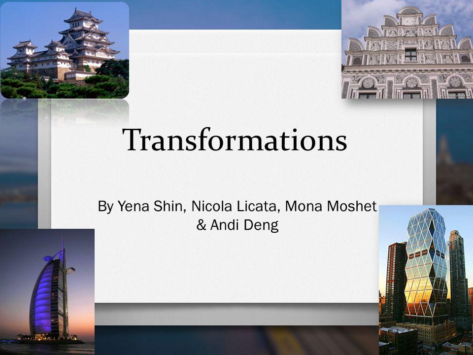 Table of Contents O Tessellations O Reflections by Mona Moshet O Dilations by Nicola O Rotation by Yena Shin O Translation by Andi Deng O Bibliography
