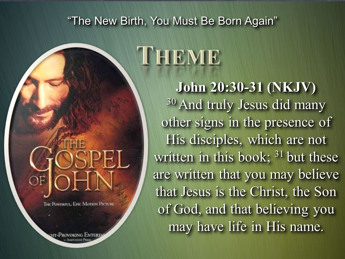 The New Birth, You Must Be Born Again It refers to an act, and that act can only be water baptism and the giving of the Spirit which that conveys Barnabas Lindars - (New Century Bible Commentary: The Gospel of John pg.