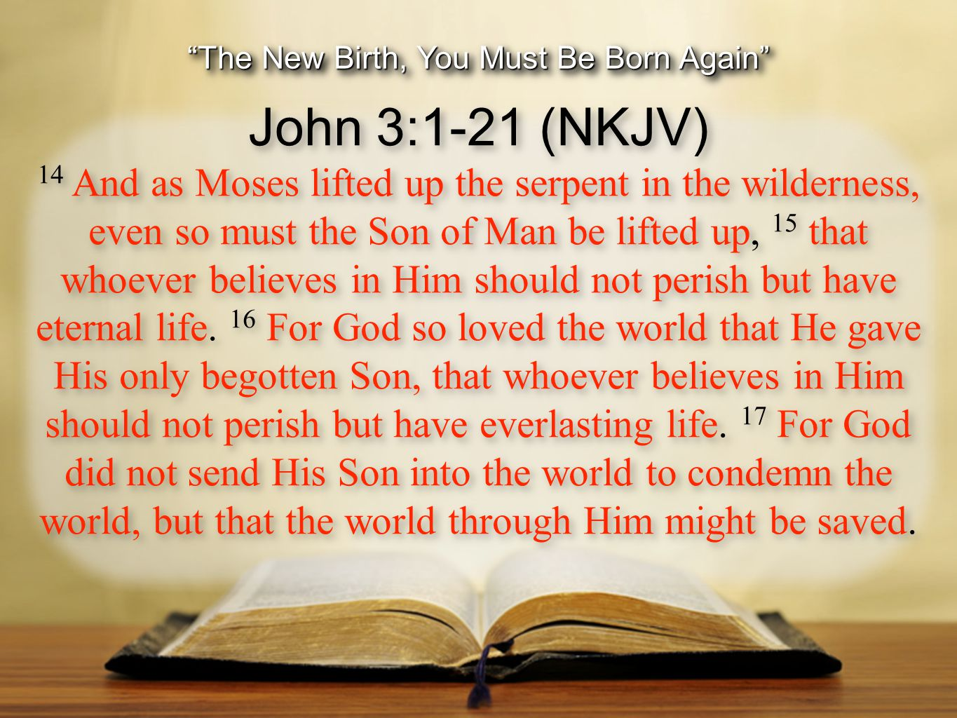 The New Birth, You Must Be Born Again John 3:1-21 (NKJV) 18 He who believes in Him is not condemned; but he who does not believe is condemned already, because he has not believed in the name of the only begotten Son of God.