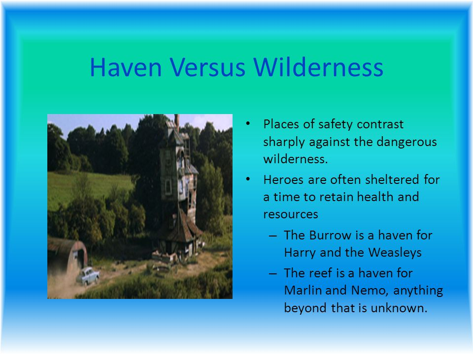Haven Versus Wilderness Places of safety contrast sharply against the dangerous wilderness.