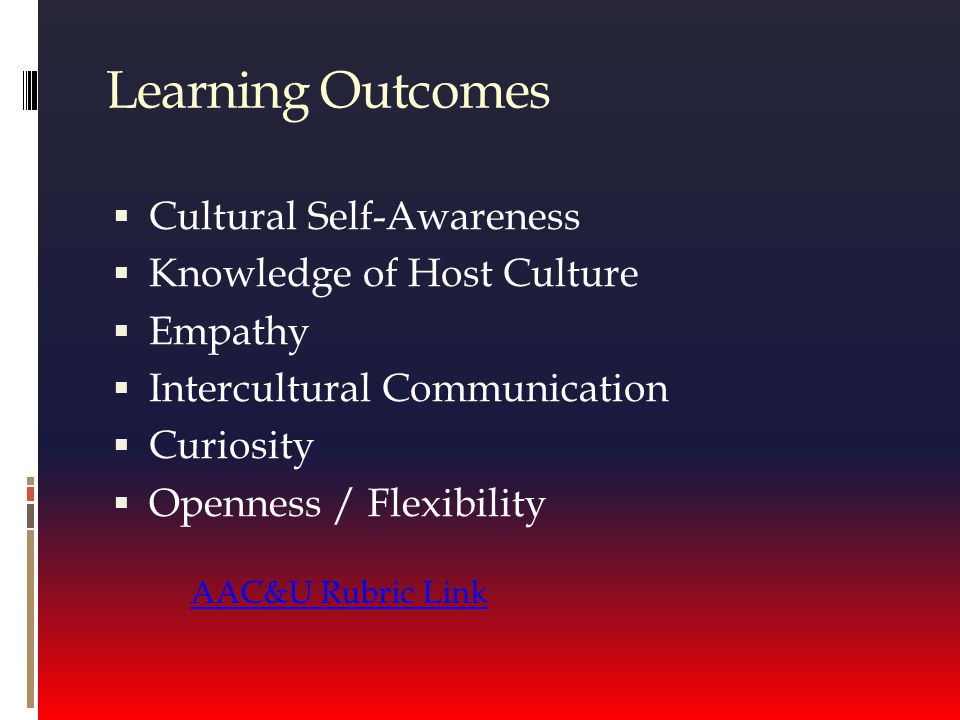 Learning Outcomes  Cultural Self-Awareness  Knowledge of Host Culture  Empathy  Intercultural Communication  Curiosity  Openness / Flexibility AAC&U Rubric Link