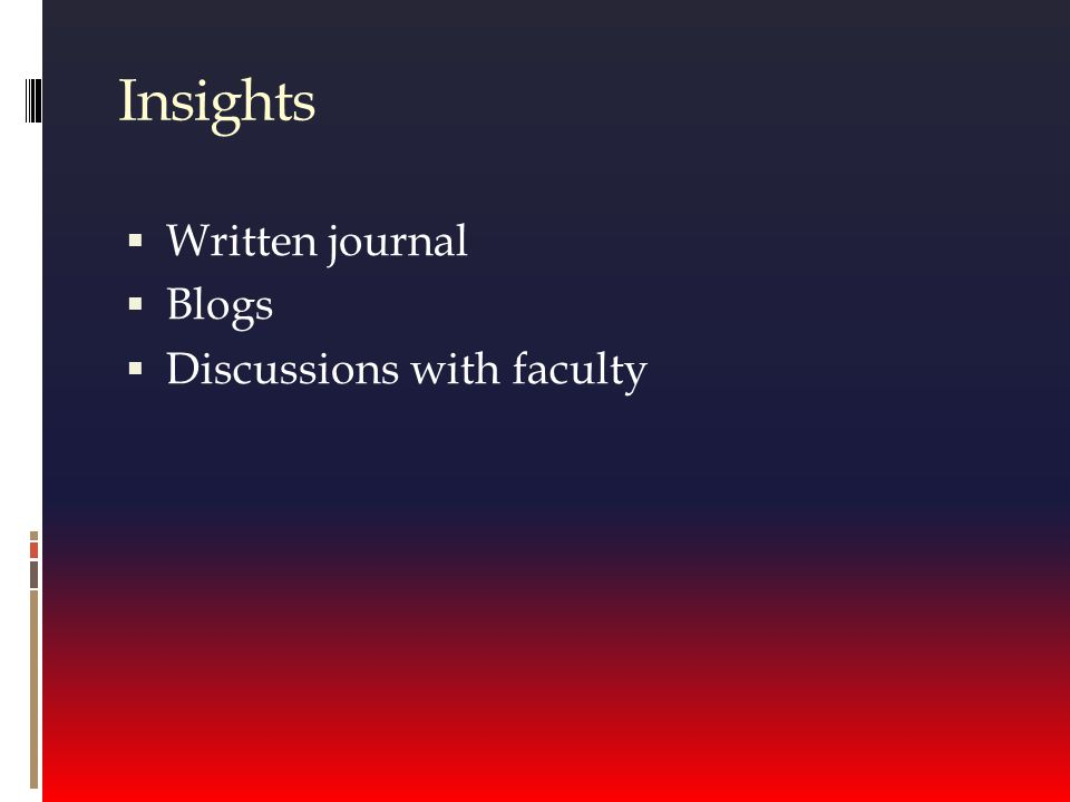Insights  Written journal  Blogs  Discussions with faculty