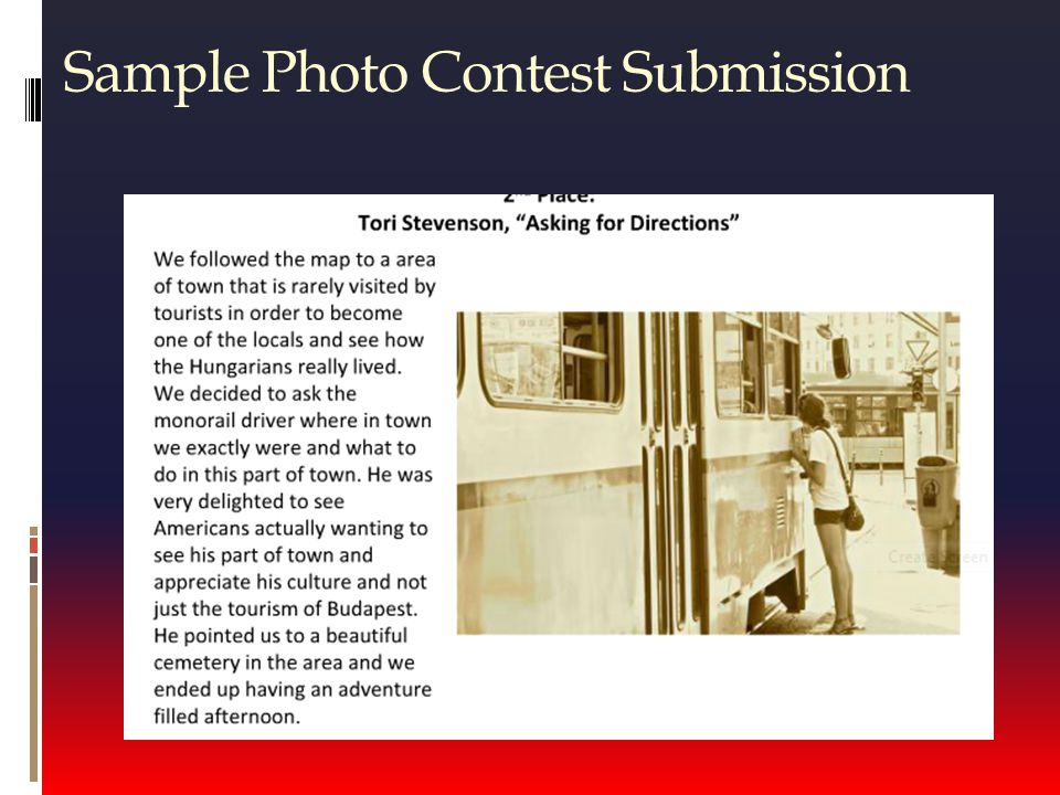 Sample Photo Contest Submission