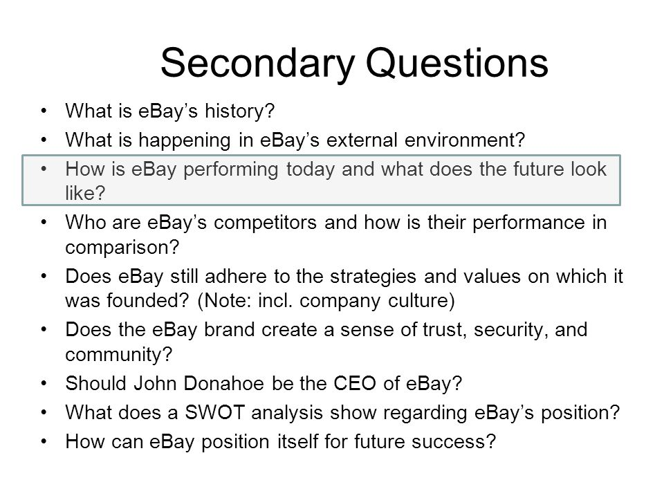 Secondary Questions What is eBay's history.What is happening in eBay's external environment.