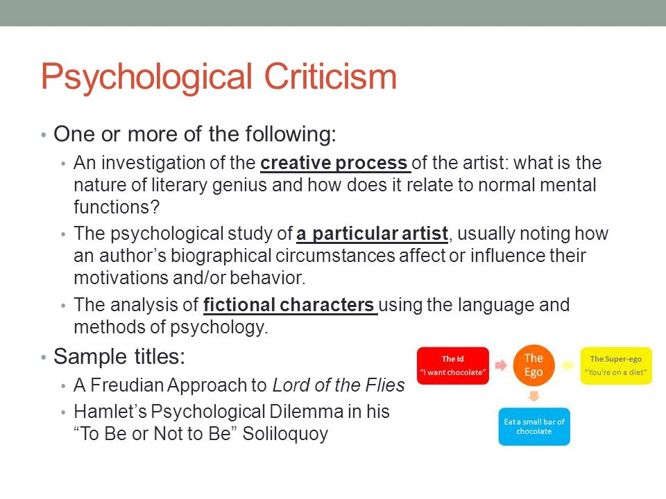 Psychological Criticism One or more of the following: An investigation of the creative process of the artist: what is the nature of literary genius an