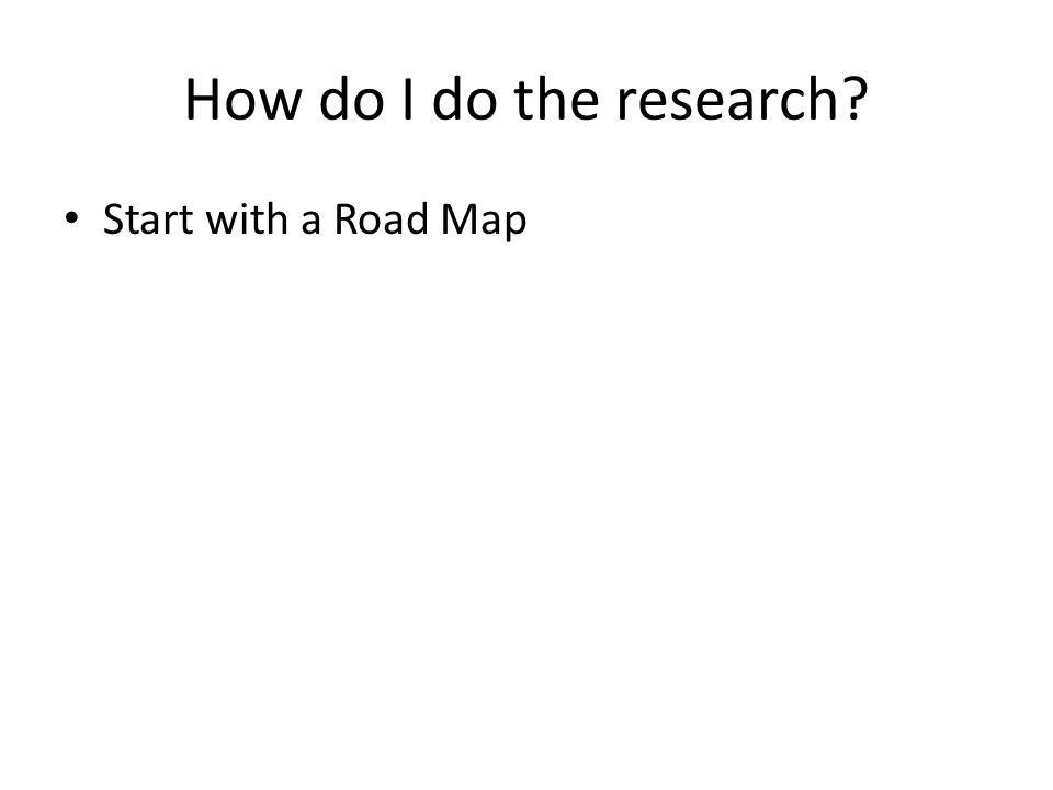 How do I do the research Start with a Road Map