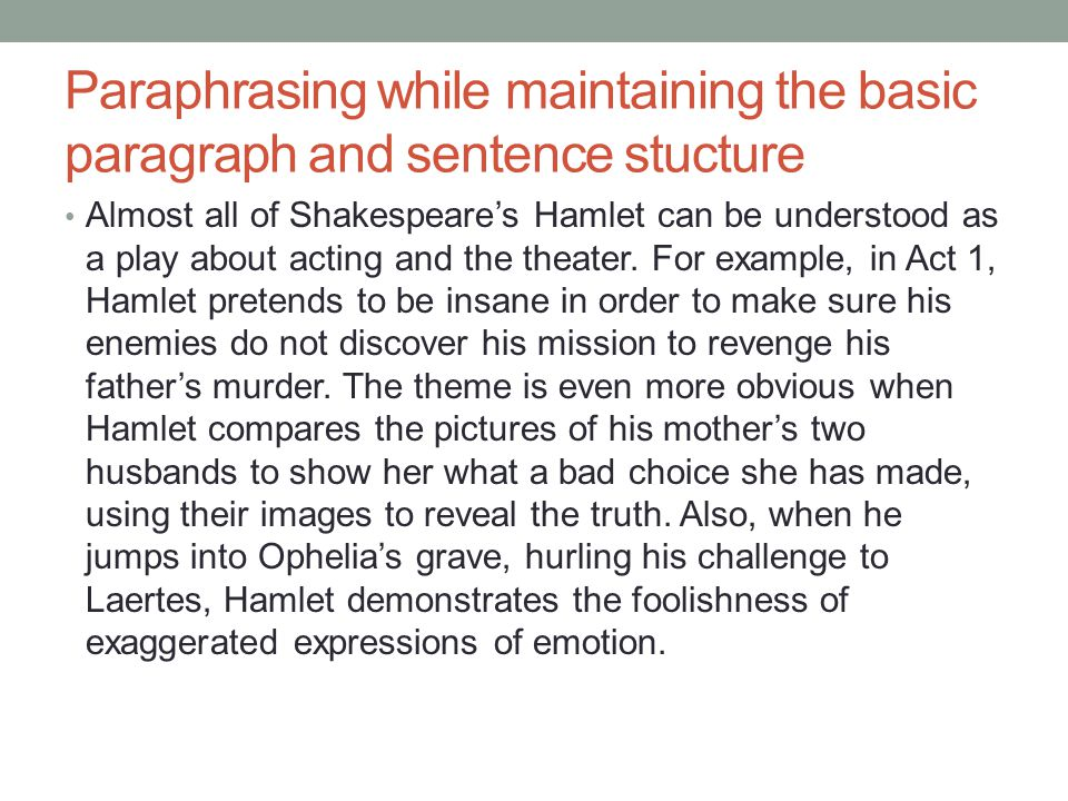 Paraphrasing while maintaining the basic paragraph and sentence stucture Almost all of Shakespeare's Hamlet can be understood as a play about acting and the theater.