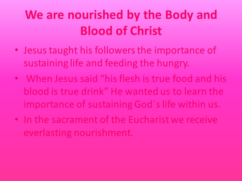 We are nourished by the Body and Blood of Christ Jesus taught his followers the importance of sustaining life and feeding the hungry.