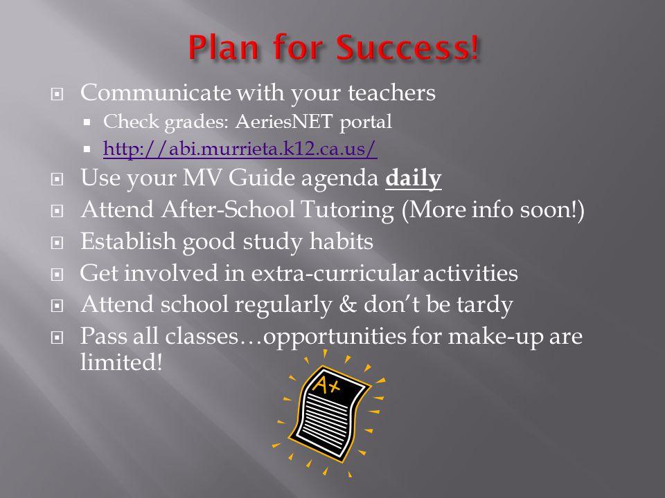  Communicate with your teachers  Check grades: AeriesNET portal  http://abi.murrieta.k12.ca.us/ http://abi.murrieta.k12.ca.us/  Use your MV Guide