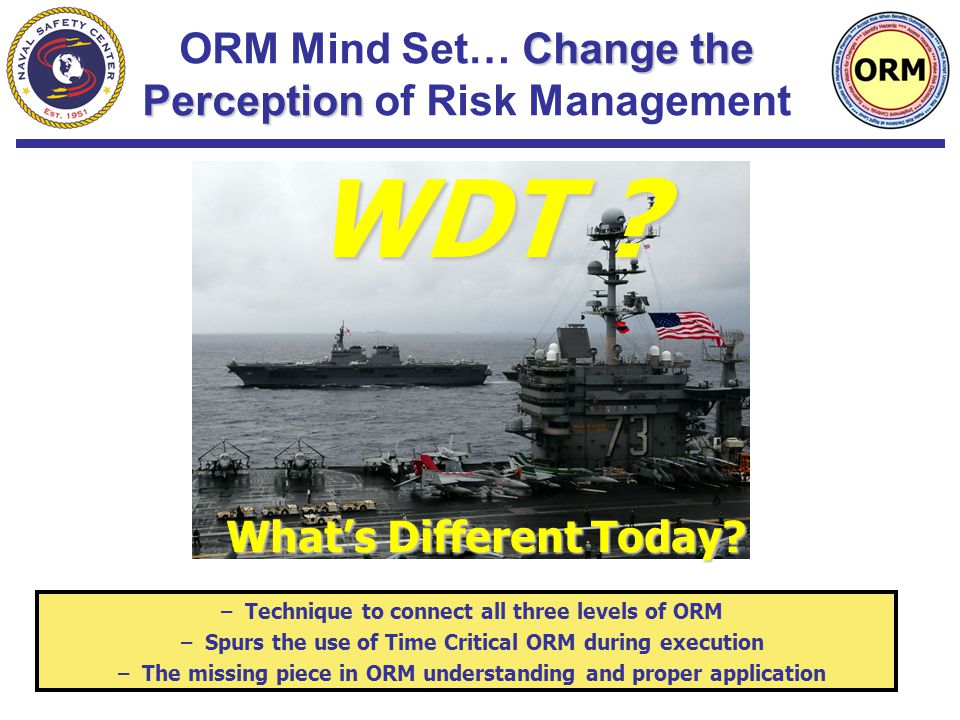–Technique to connect all three levels of ORM –Spurs the use of Time Critical ORM during execution –The missing piece in ORM understanding and proper application Change the Perception ORM Mind Set… Change the Perception of Risk Management WDT .