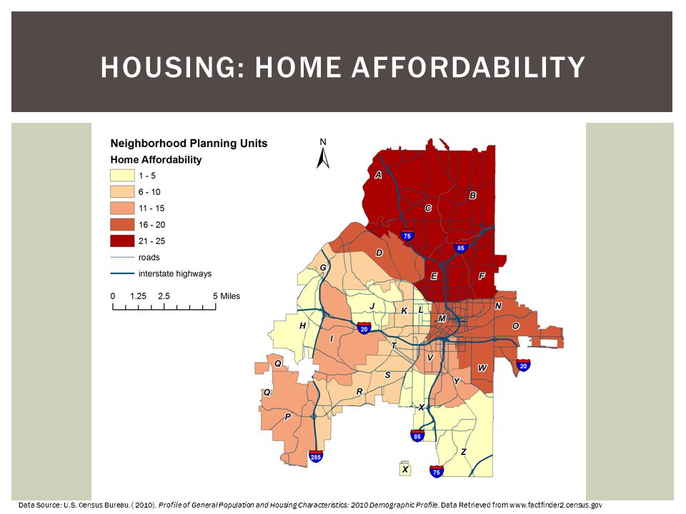 HOUSING: HOME AFFORDABILITY Data Source: U.S. Census Bureau. ( 2010). Profile of General Population and Housing Characteristics: 2010 Demographic Prof