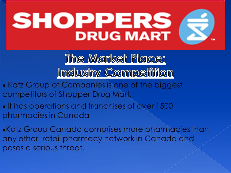 ● Katz Group of Companies is one of the biggest competitors of Shopper Drug Mart.
