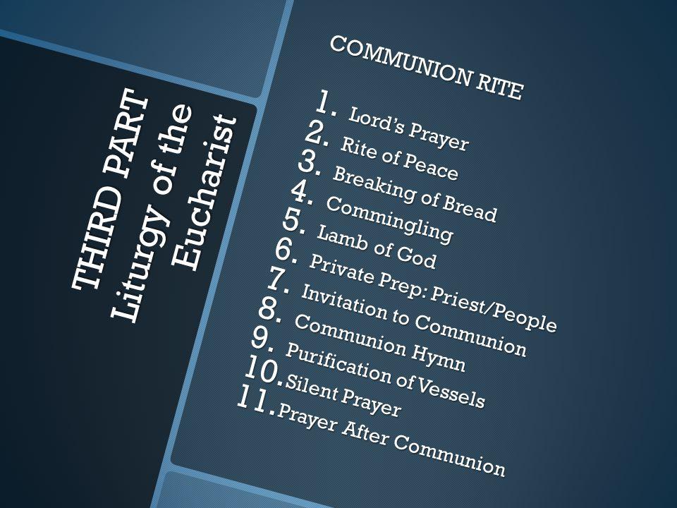 THIRD PART Liturgy of the Eucharist COMMUNION RITE 1.