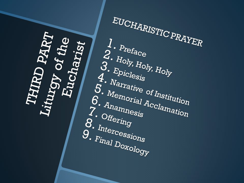 THIRD PART Liturgy of the Eucharist EUCHARISTIC PRAYER 1. Preface 2. Holy, Holy, Holy 3. Epiclesis 4. Narrative of Institution 5. Memorial Acclamation