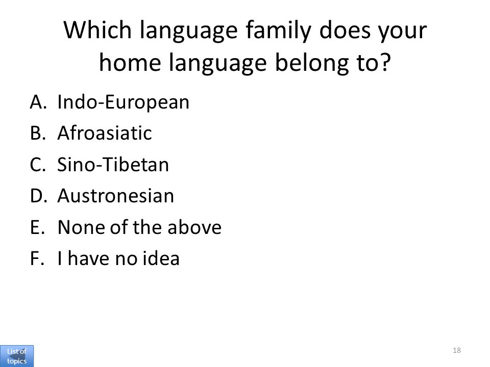 Which language family does your home language belong to.