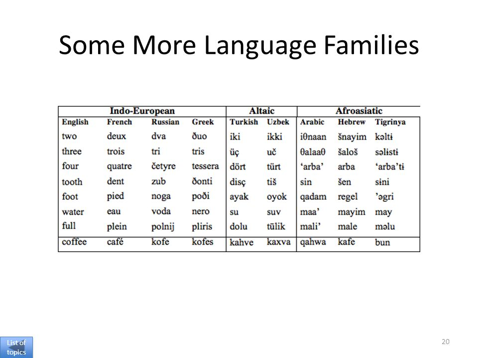 Some More Language Families 20 List of topics List of topics