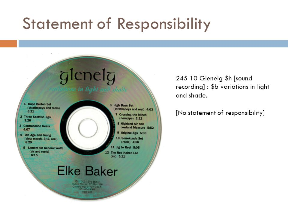 Statement of Responsibility 245 10 Glenelg $h [sound recording] : $b variations in light and shade.