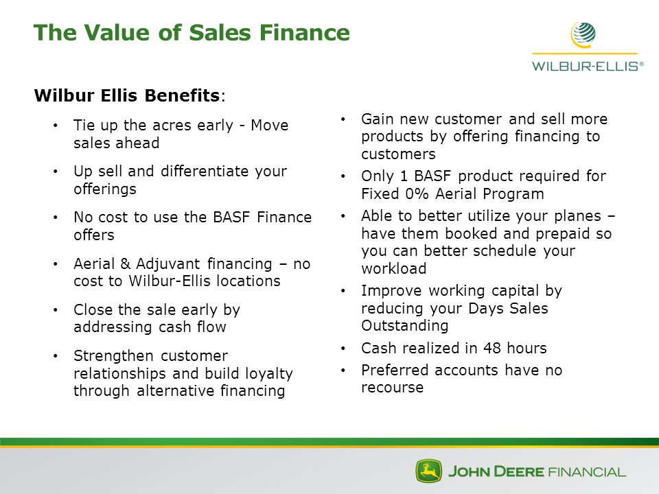 The Value of Sales Finance Wilbur Ellis Benefits: Tie up the acres early - Move sales ahead Up sell and differentiate your offerings No cost to use the BASF Finance offers Aerial & Adjuvant financing – no cost to Wilbur-Ellis locations Close the sale early by addressing cash flow Strengthen customer relationships and build loyalty through alternative financing Gain new customer and sell more products by offering financing to customers Only 1 BASF product required for Fixed 0% Aerial Program Able to better utilize your planes – have them booked and prepaid so you can better schedule your workload Improve working capital by reducing your Days Sales Outstanding Cash realized in 48 hours Preferred accounts have no recourse