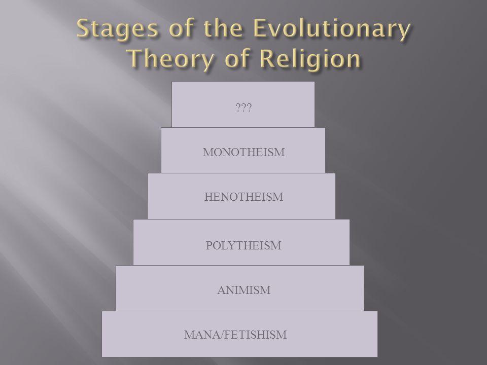 MANA/FETISHISM ANIMISM POLYTHEISM HENOTHEISM MONOTHEISM ???