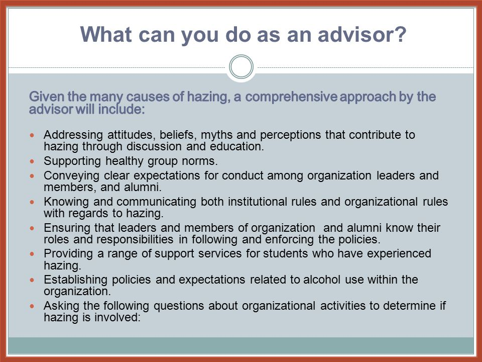 What can you do as an advisor?