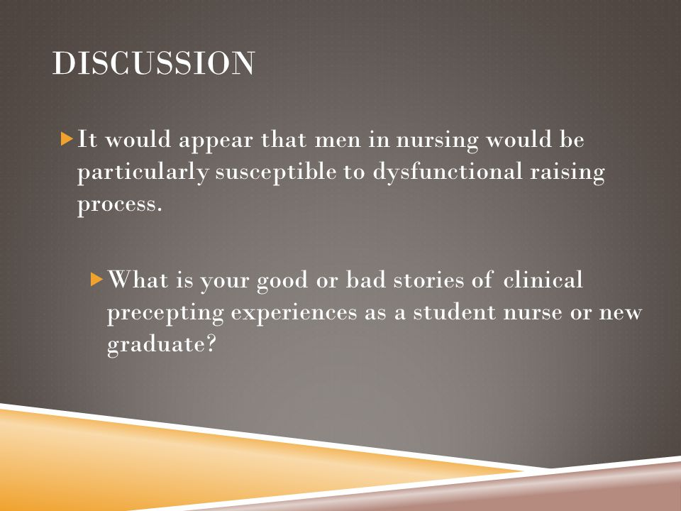 DISCUSSION  It would appear that men in nursing would be particularly susceptible to dysfunctional raising process.