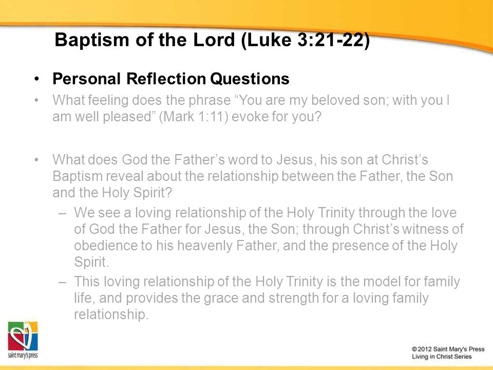 """Baptism of the Lord (Luke 3:21-22) Personal Reflection Questions What feeling does the phrase """"You are my beloved son; with you I am well pleased"""" (Ma"""