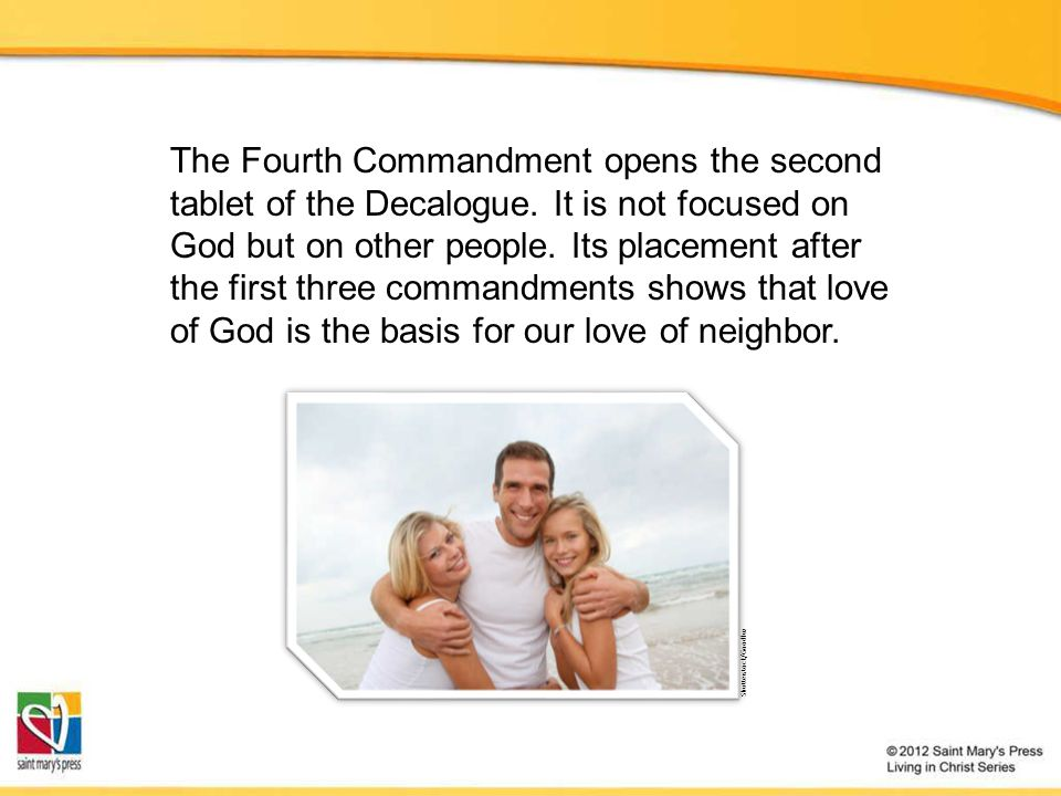 The Fourth Commandment opens the second tablet of the Decalogue. It is not focused on God but on other people. Its placement after the first three com