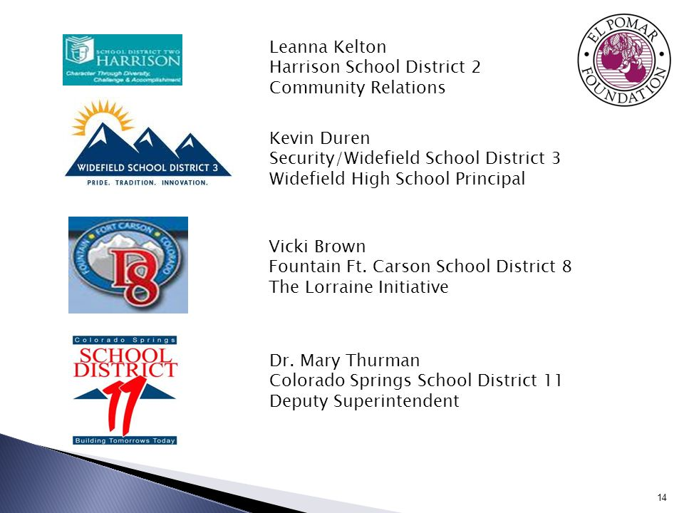 14 Dr. Mary Thurman Colorado Springs School District 11 Deputy Superintendent Vicki Brown Fountain Ft. Carson School District 8 The Lorraine Initiativ