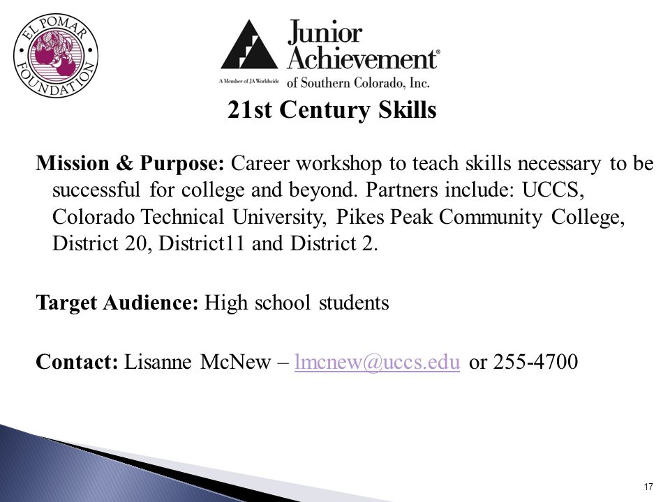 Mission & Purpose: Career workshop to teach skills necessary to be successful for college and beyond.