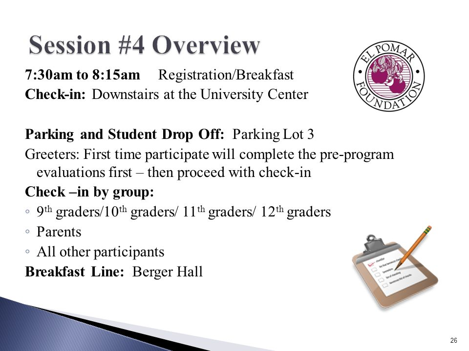7:30am to 8:15am Registration/Breakfast Check-in: Downstairs at the University Center Parking and Student Drop Off: Parking Lot 3 Greeters: First time participate will complete the pre-program evaluations first – then proceed with check-in Check –in by group: ◦ 9 th graders/10 th graders/ 11 th graders/ 12 th graders ◦ Parents ◦ All other participants Breakfast Line: Berger Hall 26