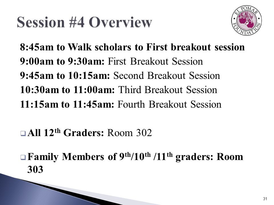 8:45am to Walk scholars to First breakout session 9:00am to 9:30am: First Breakout Session 9:45am to 10:15am: Second Breakout Session 10:30am to 11:00am: Third Breakout Session 11:15am to 11:45am: Fourth Breakout Session  All 12 th Graders: Room 302  Family Members of 9 th /10 th /11 th graders: Room 303 31