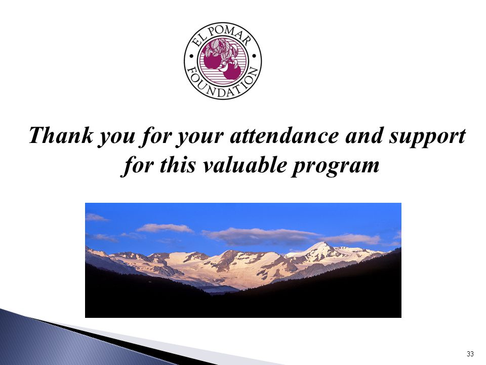 Thank you for your attendance and support for this valuable program 33