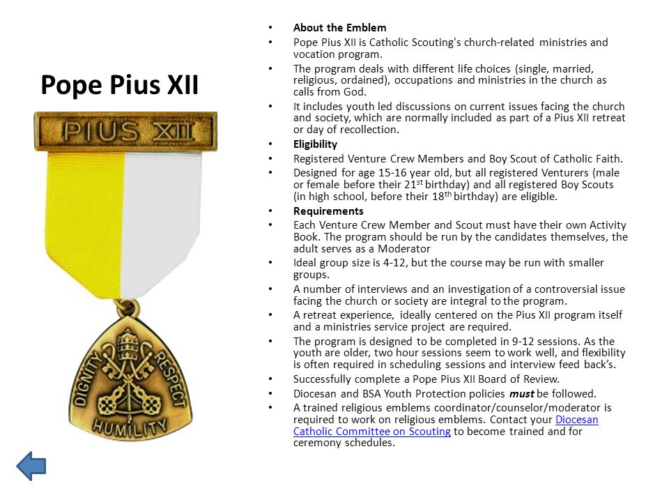 Pope Pius XII About the Emblem Pope Pius XII is Catholic Scouting's church-related ministries and vocation program. The program deals with different l