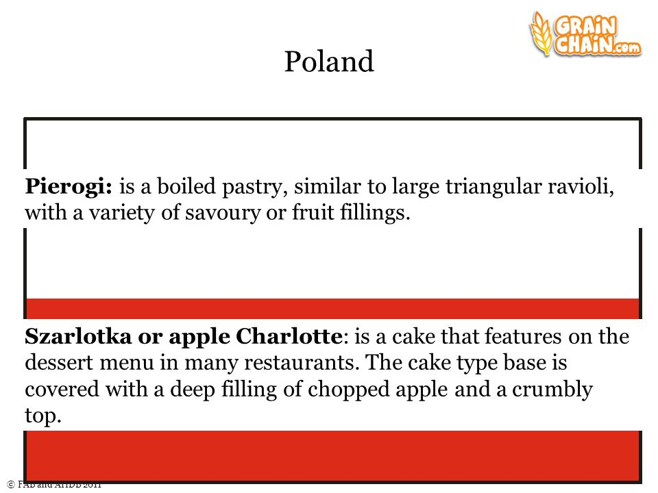 © FAB and AHDB 2011 Poland Pierogi: is a boiled pastry, similar to large triangular ravioli, with a variety of savoury or fruit fillings. Szarlotka or