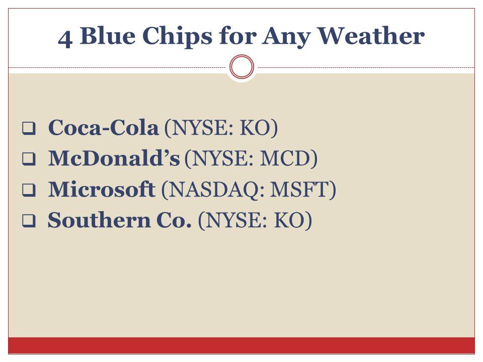 4 Blue Chips for Any Weather  Coca-Cola (NYSE: KO)  McDonald's (NYSE: MCD)  Microsoft (NASDAQ: MSFT)  Southern Co. (NYSE: KO)