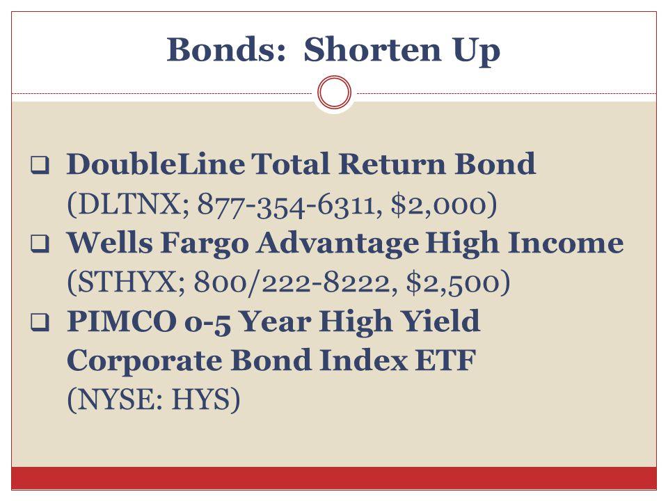 Bonds: Shorten Up  DoubleLine Total Return Bond (DLTNX; 877-354-6311, $2,000)  Wells Fargo Advantage High Income (STHYX; 800/222-8222, $2,500)  PIM