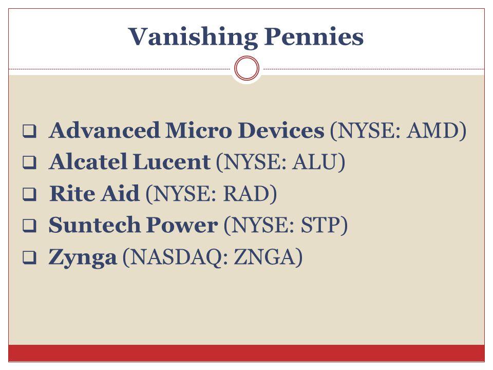 Vanishing Pennies  Advanced Micro Devices (NYSE: AMD)  Alcatel Lucent (NYSE: ALU)  Rite Aid (NYSE: RAD)  Suntech Power (NYSE: STP)  Zynga (NASDAQ