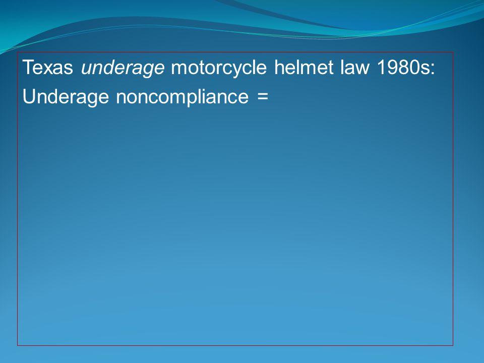 Texas underage motorcycle helmet law 1980s: Underage noncompliance =