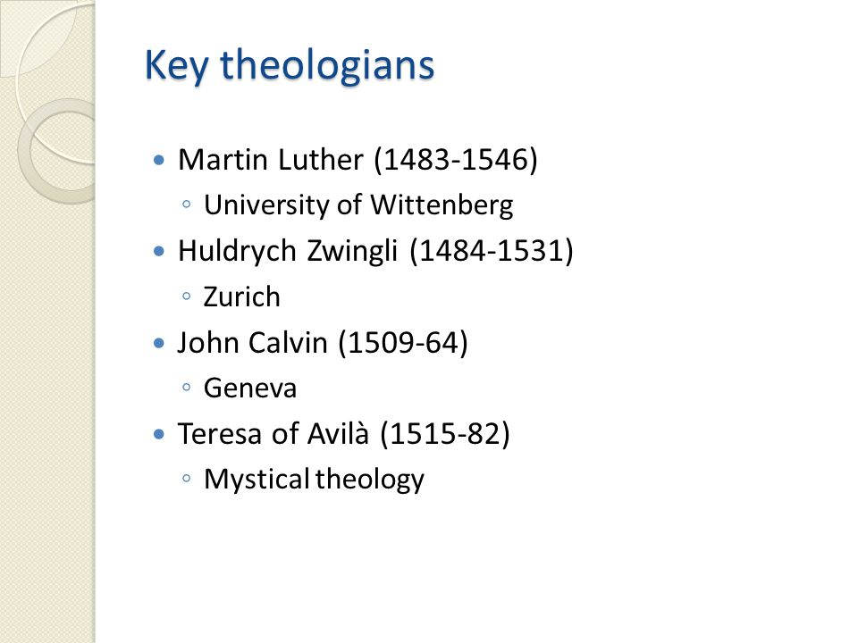 Theodore Beza (1519-1605) ◦ Genevan Academy Johann Gerhard (1582-1637) ◦ Lutheran Orthodoxy (Loci communes) Roberto Bellarmine ◦ Catholic theology Jonathan Edwards (1703-58) ◦ America's great theologian