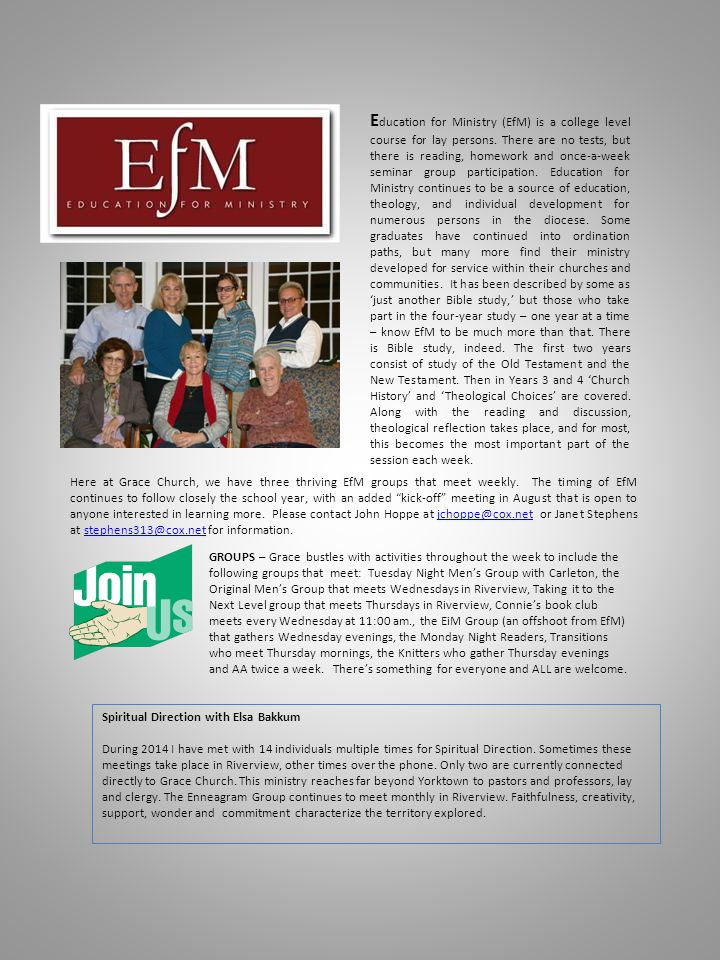 E ducation for Ministry (EfM) is a college level course for lay persons.